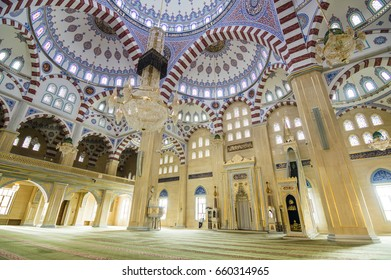 "GROZNY, CHECHNYA, RUSSIA - Aug 16, 2016: Mosque ""Heart of Chechnya"" (Akhmad Kadyrov Mosque) interior view in Grozny, the capital of Chechnya, Russia"