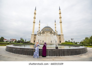 "GROZNY, CHECHNYA, RUSSIA - Aug 16, 2016: Mosque ""Heart of Chechnya"" (Akhmad Kadyrov Mosque) view in Grozny, the capital of Chechnya, Russia"