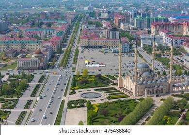 GROZNY, RUSSIA - APRIL 24: Aerial view of Grozny city. Main mosque of the Chechen Republic - Heart of Chechnya on April 24, 2016 in Grozny.