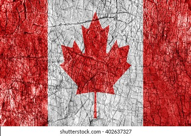 Grudge stone painted Canada flag