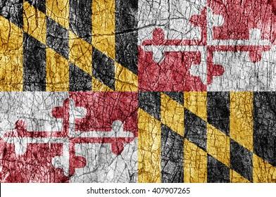 Grudge stone painted US Maryland flag