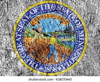 Grudge stone painted US Minnesota seal flag