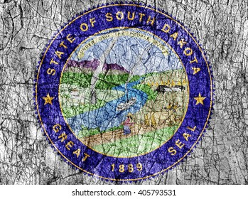 Grudge stone painted US South Dakota seal flag
