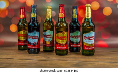 GRUDZIADZ, POLAND -AUGUST 10, 2017: Budweiser Budvar one of the highest selling beers in the Czech Republic, produced in Ceske Budejovice by Budweiser Budvar Brewery.