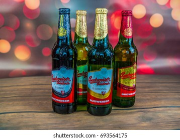GRUDZIADZ, POLAND -AUGUST 10, 2017: Budweiser Budvar one of the highest selling beers in the Czech Republic, produced in Ceske Budejovice by Budweiser Budvar Brewery.