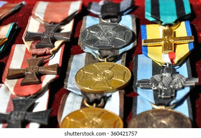 GRUDZIADZ, POLAND - JUNE 18 : Closeup of variety of orders of Virtuti Militari on street market on June 18, 2015 in Grudziadz, Poland. Order highest military decoration for heroism and courage.