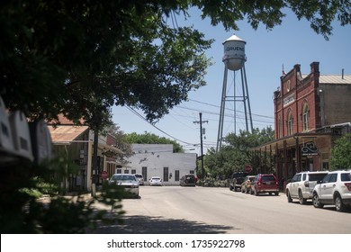 Gruene, Texas - May 19 2020: downtown shops with water tower and dance hall