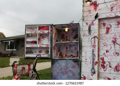 Gruesome refrigerator that is at a haunted house