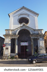 GRUGLIASCO, ITALY - CIRCA DECEMBER 2018: Cappella della Confraternita Santa Croce (meaning Chapel of the Holy Cross Confraternity). Mercatino means flea market