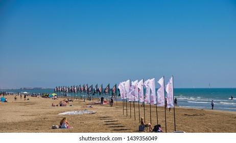 Gruissan, Aude/France - June 1st 2019. The beach awaiting the Defi Wind international sailboard championship