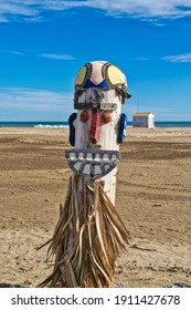 Gruissan Plage, Aude, France - January 2nd 2021: Beach art. A totem made by an unknown artist from objects washed up on the beach