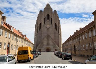 Grundtvig's Church (Grundtvigs Kirke), Copenhagen, Denmark - 25 Jun 2018: It is a rare example of expressionist church architecture.