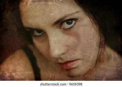 Grunge abstract portrait of gothic girl