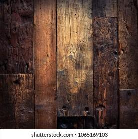 Grunge aged wooden textured background under light. Natural wood in vintage style, design retro desk.