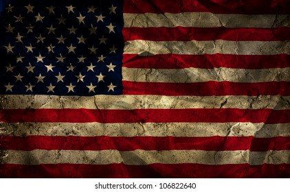 Grunge American flag background with folds and creases