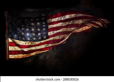 Grunge American flag, close-up.