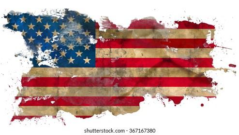 Grunge american flag isolated on white background
