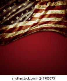Grunge American flag on red background