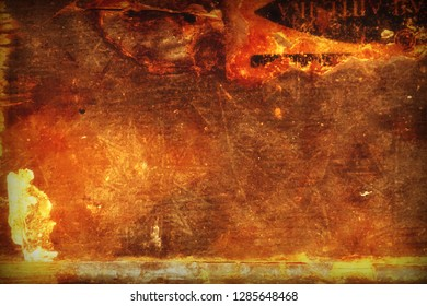 Grunge background is an ancient magical occult with a polygonal star and vignette. Esoteric backdrop with fire and glow effects for your design