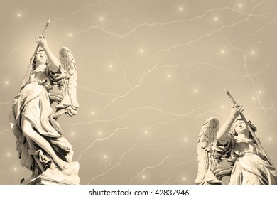 Grunge background with Bernini's angels.