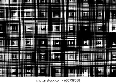 Grunge background of black and white. Abstraction black and white texture. Lines, squares, circles, blur the black and white background. The texture of the polygons, lines, squares, mixing bands