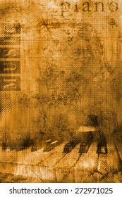 Grunge background with detail of piano keyboard and words