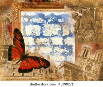Grunge background with golden frame and colored  butterfly