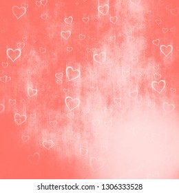 grunge background from hearts, living color tone, Valentine's day concept