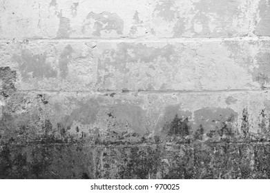 Grunge Background - mold and peeling pain on a cinder block wall