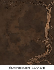 Grunge background with old naked tree