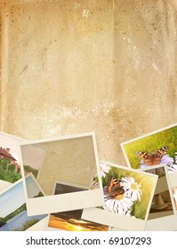 Grunge background with old photos and paper texture
