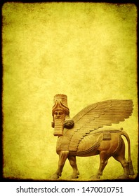 Grunge background with paper texture and lamassu - human-headed winged bull statue, Assyrian protective deity. Copy space for text. Mock up template