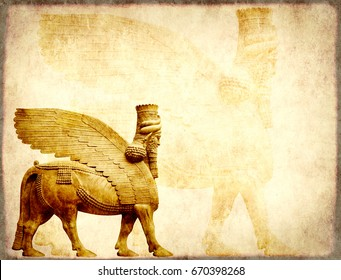 Grunge background with paper texture and lamassu - human-headed winged bull statue, Assyrian protective deity
