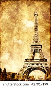 Grunge background with paper texture and landmark of Paris - Eiffel tower