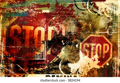 Grunge background with stop sign