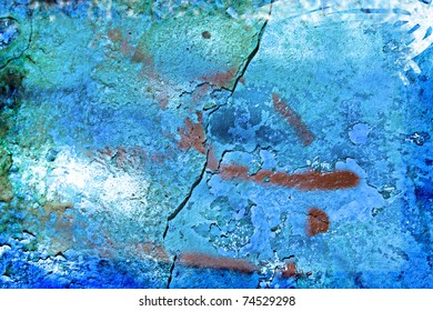Grunge background / texture on a light blue stone wall with a big crack in center.