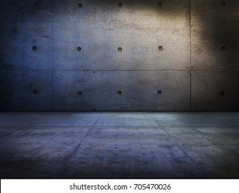 Grunge bare or raw concrete room with lighting.