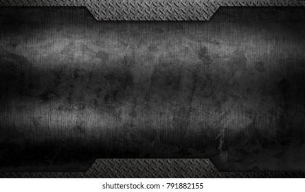 grunge black metal with diamond plate background