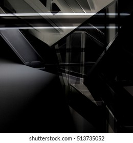 Grunge black and white photo of industrial premises fragment with staircases and girders in darkness. Abstract image on the subject of industrial interior and architecture.