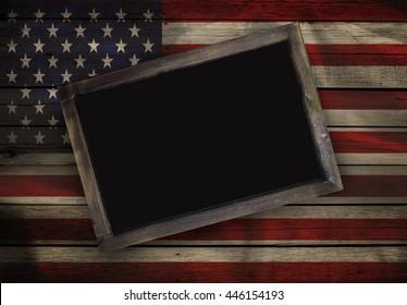 Grunge Blank blackboard on American flag wood background