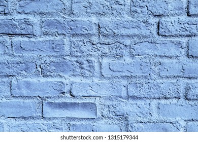 Grunge blue paint brick wall texture. Urban abstract blocks pattern as backdrop for graphic design.