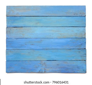 Grunge blue wood board isolated on white background. Surface of aged blue wooden planks.