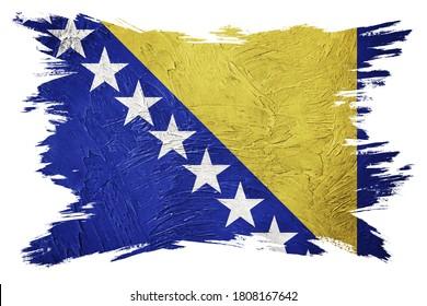 Grunge Bosnia and Herzegovina flag. Bosnian flag with grunge texture. Brush stroke.