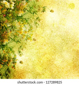 Grunge bouquet of summer flowers  with bokeh and copy space,  floral background