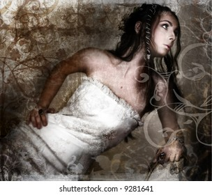 Grunge bride in white lace dress and long braided hair on vintage texture with swirls and scrolls made from my designs