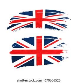 Grunge brush stroke with United Kingdom national flag isolated on white