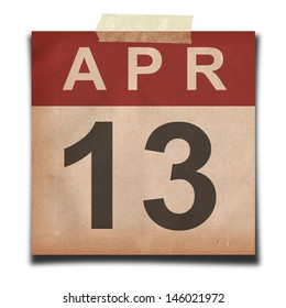 Grunge calendar for April  on white background
