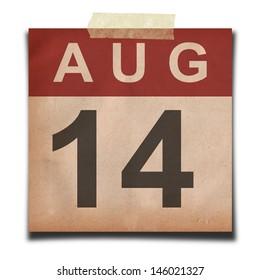 Grunge calendar for August on white background