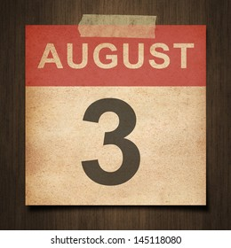 Grunge calendar for August  on wood background