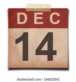 Grunge calendar for december on white background